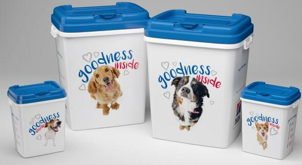 food container and measure cup for pet foods series