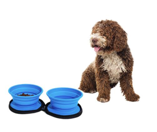AFTFP011  two folding pet dog bowls